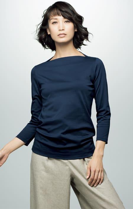 スビン綿 ボートネック 七分袖 Tシャツのコーディネート