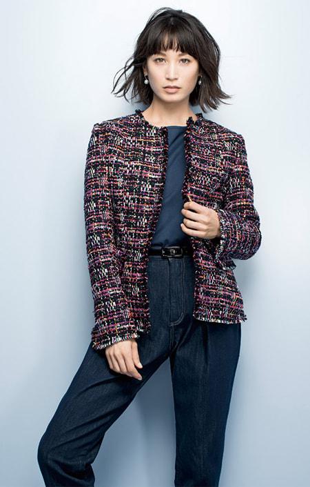 マリア・ケント社 ファンシーツイード ジャケットのコーディネート