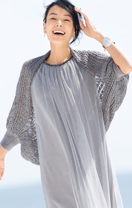 ラメ糸使い 透かし柄編み ボレロのコーディネート