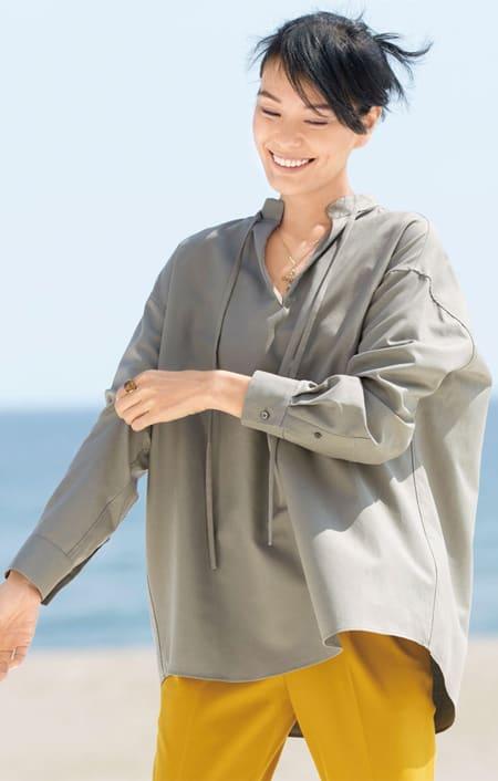 コットン ダブルクロス ボリュームシャツのコーディネート