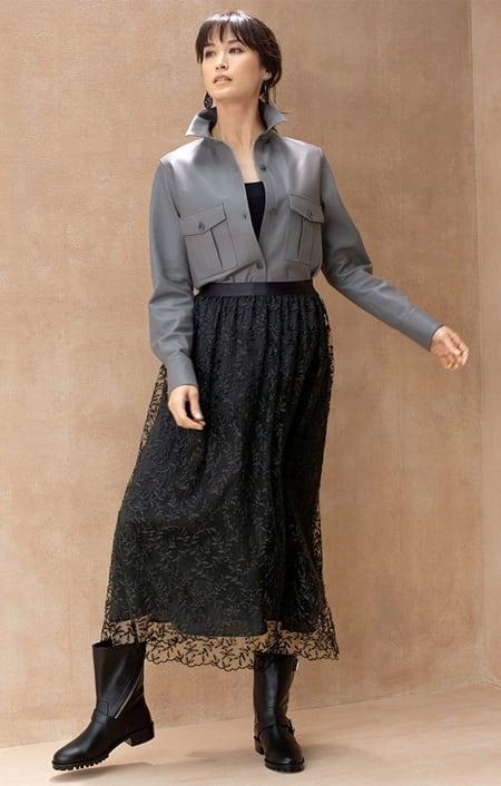 スペイン産 ラムレザー シャツジャケットのコーディネート