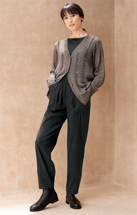 イタリア糸 ケーブル&透かし編み カーディガンのコーディネート