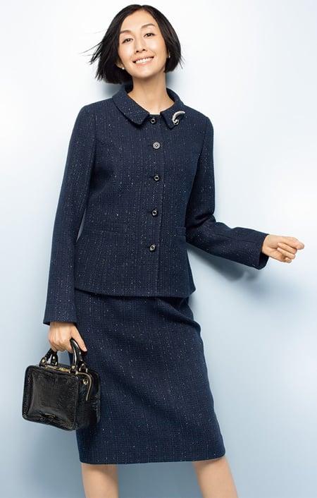 イタリア素材 ラメツイード スーツセット(ジャケット+スカート)のコーディネート