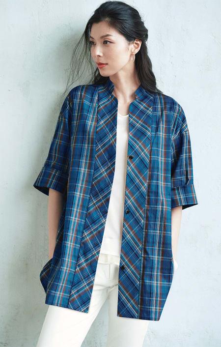 【L-3L】 チェック柄スタンドカラー チュニックシャツのコーディネート