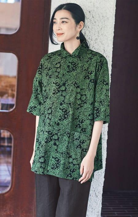 bx/ビーエクス ミラクルウェーブインディアプリント オアカラービッグシャツ 【大きいサイズ L・LL・3L・4L】のコーディネート