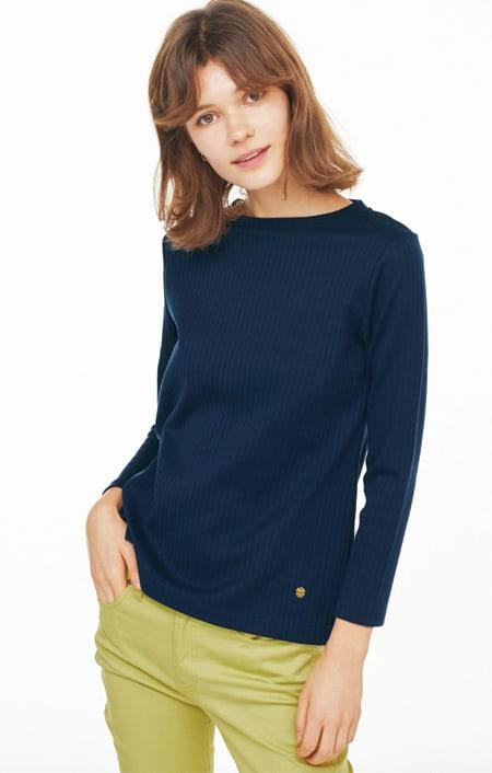 超長綿スビンギザコットン ワイドリブ長袖Tシャツのコーディネート