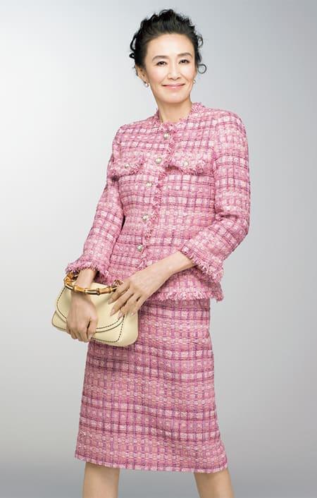 マリア・ケント社 ピンクツイード ジャケットのコーディネート