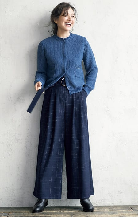 デニム調 鹿の子編み ショートカーディガンのコーディネート