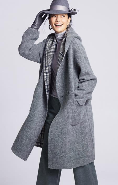 フェルラ社 アルパカ混 リバーシブル フーデッドコート(イタリア製)のコーディネート