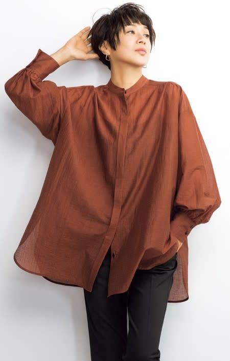 フランス素材 シアー楊柳 ボリュームシャツのコーディネート