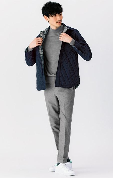 リバーシブル 中綿シャツジャケットのコーディネート