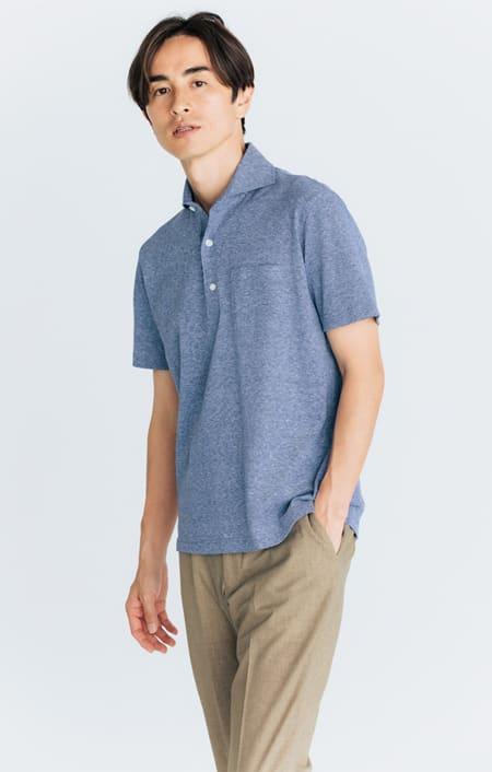 「GIM」 綿麻デザインポロシャツのコーディネート