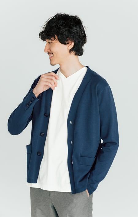 「i cotoni di ALBINI」 超長綿ドレスTシャツシリーズ Vネックのコーディネート