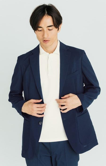ジャケットインポロシャツのコーディネート